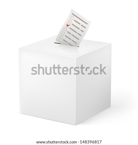 Raster version. Ballot box with Ballot paper. Illustration on white background - stock photo