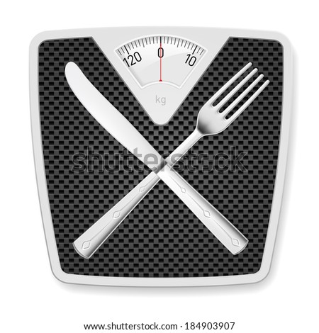 Raster version. Bathroom scales with fork and knife as concept of diet and overweight. - stock photo