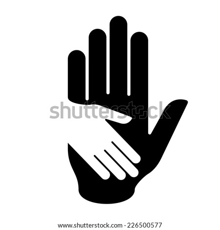 Raster version. Black-and-white illustration of helping hand. Concept of help, assistance and cooperation.  - stock photo