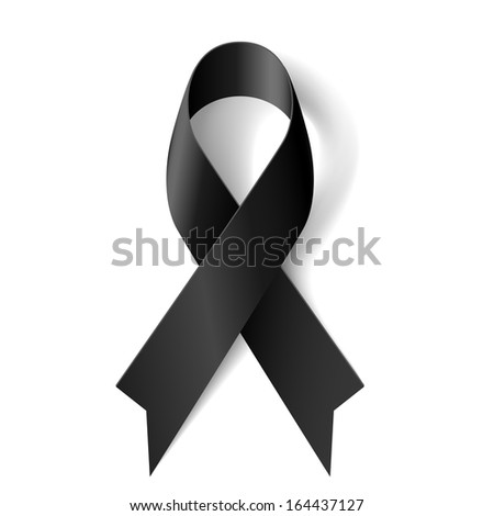 Raster version. Black awareness ribbon on white background. Mourning and melanoma symbol. - stock photo