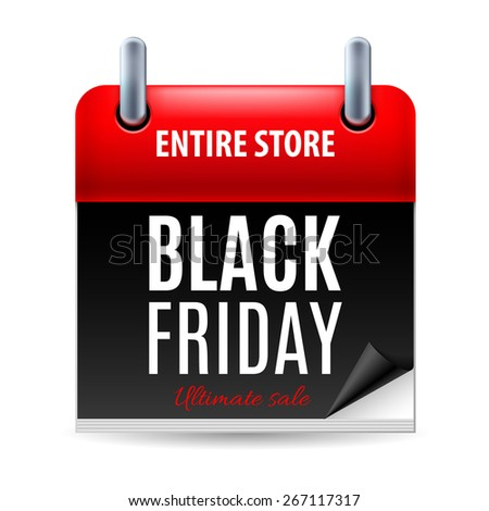 Raster version. Black Friday discounts, increasing consumer growth. Calendar icon