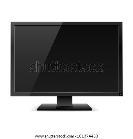 Raster version. Black LCD TV monitor. Illustration on white background - stock photo