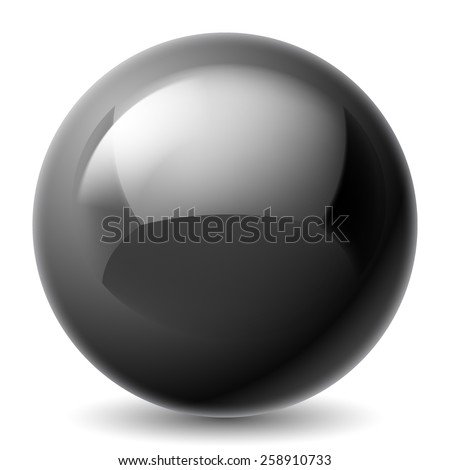 Raster version. Black metallic sphere isolated on white background  - stock photo