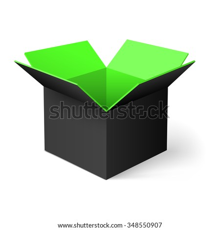 Raster version. Black opened square box with green color inside - stock photo