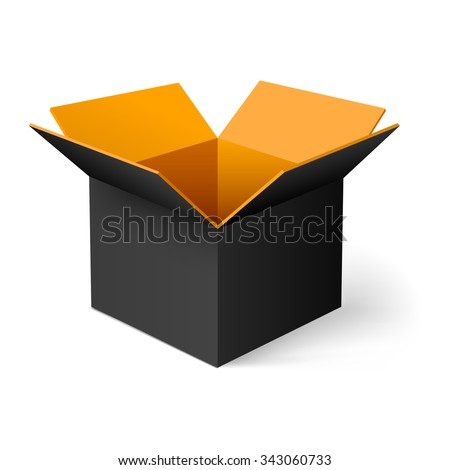 Raster version. Black  opened square box with orange inside