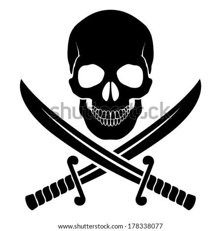Raster version. Black skull with crossed sabers. Illustration of pirate symbol - stock photo