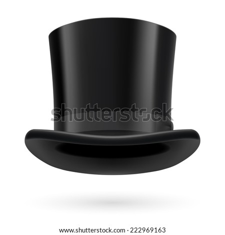 Raster version. Black top hat on the white background.  - stock photo