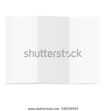 Raster version. Blank folded flyer on white. Illustration for design - stock photo