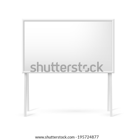 Raster version. Blank white marker board for business presentations or teaching - stock photo