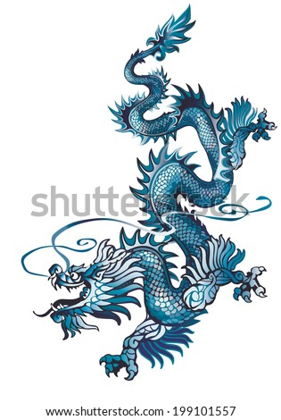 Raster version / Blue Descending oriental dragon on a white background - stock photo