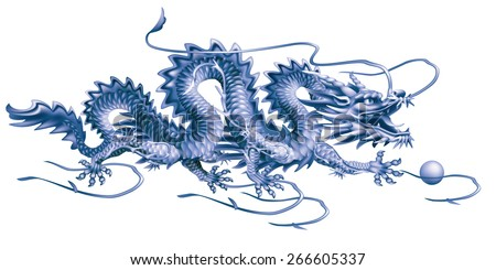 Raster version / Blue Dragon moving horizontally on a white background - stock photo