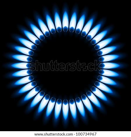 Raster version. Blue Gas Flame. Illustration on black background - stock photo