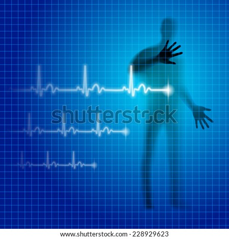 Raster version. Blue neon medical background with human silhouette and cardiogram line  - stock photo