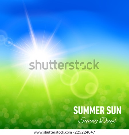 Raster version. Blurred summer background with glaring sun for your design  - stock photo