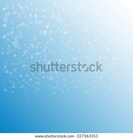 Raster version. Bubbles in water on blue background . Circle and liquid, light design, clear soapy shiny, illustration - stock photo