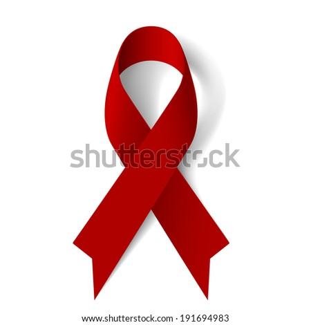 Raster version. Burgundy awareness ribbon as symbol of Multiple Myeloma, oral cancer, amyloidosis support, brain aneurysm and adults with disabilities support - stock photo