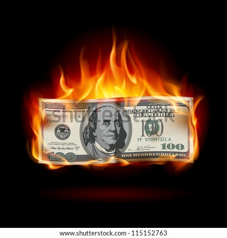 Raster version. Burning dollar on a black background for design - stock photo