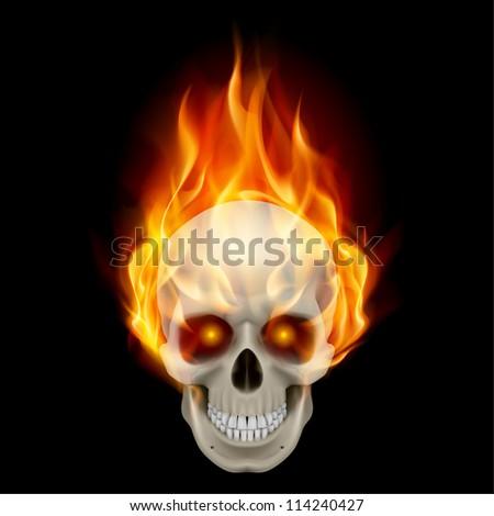 Raster version. Burning skull in hot flame. Illustration on black background - stock photo
