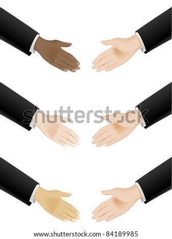 Raster version. Business hand shaking. Illustration on white background - stock photo
