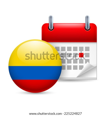 Raster version. Calendar and round Colombian flag icon. National holiday in Colombia  - stock photo
