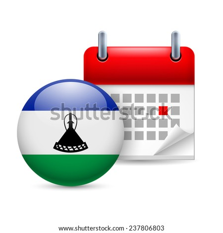 Raster version. Calendar and round flag icon. National holiday in Lesotho  - stock photo