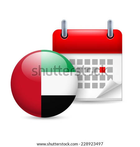 Raster version. Calendar and round flag icon. National holiday in United Arab Emirates  - stock photo