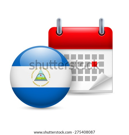 Raster version. Calendar and round Nicaraguan flag icon. National holiday in Nicaragua - stock photo