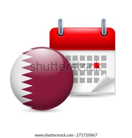 Raster version. Calendar and round Qatari flag icon. National holiday in Qatar - stock photo