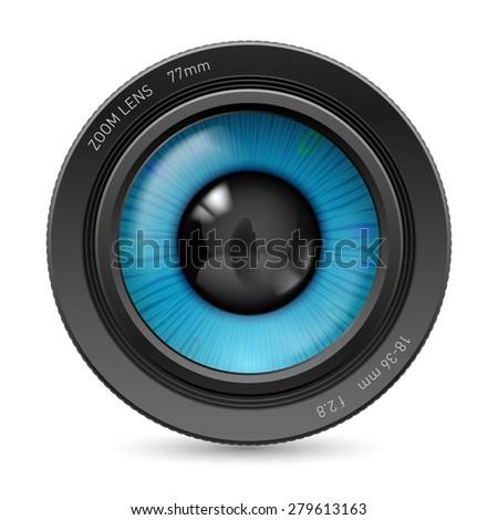 Raster version. Camera lens isolated on white background. Illustration blue eye - stock photo
