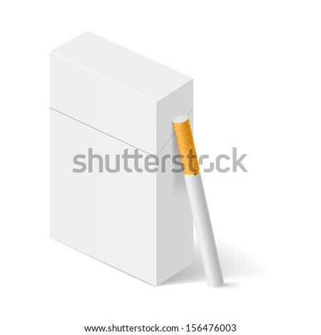 Raster version. Closed full pack of cigarettes. Concept design. Illustration on white. - stock photo