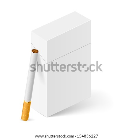 Raster version. Closed full pack of cigarettes. Illustration on white background - stock photo