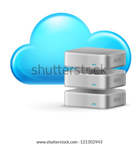 Raster version. Cloud computing and remote Database. Illustration on white - stock photo