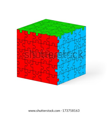 Raster version. Colorful cube made of puzzle elements. Illustration on white background.   - stock photo