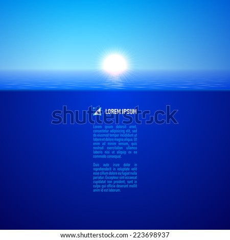 Raster version. Cool sunshine over calm blue water surface, split view  - stock photo