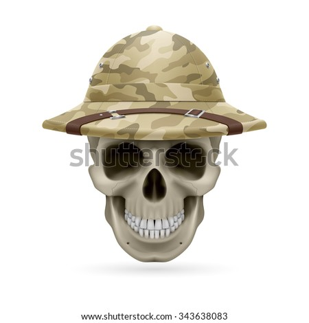 Raster version. Cork camouflage hat on skull isolated on a white background - stock photo