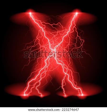 Raster version. Criss-cross lines of branchy bright red lightning.  - stock photo