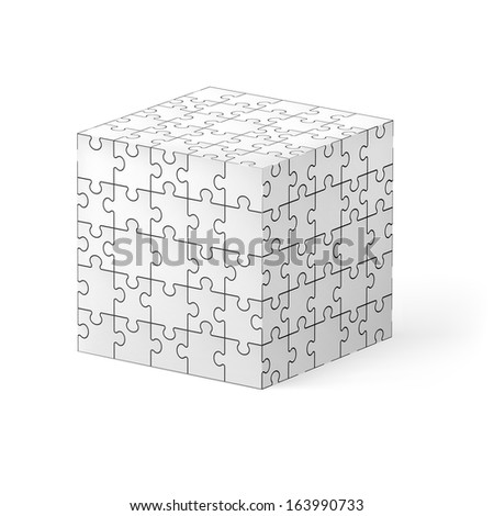 Raster version. Cube made of white puzzle elements. Illustration on white background.   - stock photo