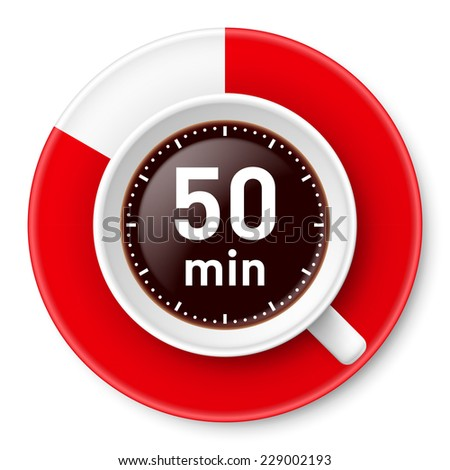 Raster version. Cup of coffee with time limit for break: fifty minutes. Illustration on white background.  - stock photo
