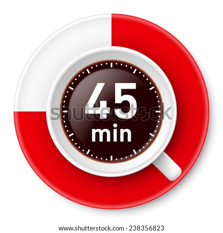 Raster version. Cup of coffee with time limit for break: forty-five minutes. Illustration on white background.  - stock photo