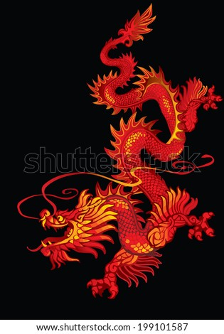 Raster version / Descending red oriental dragon on a black background - stock photo