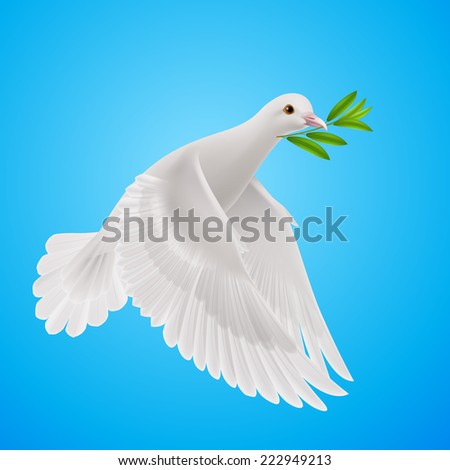 Raster version. Dove of peace flying with a green twig after flood  - stock photo
