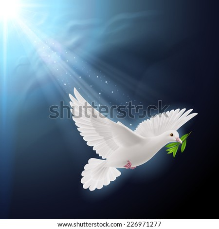 Raster version. Dove of peace flying with a green twig after flood on dark background  - stock photo