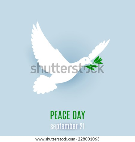 Raster version. Dove of peace flying with a green twig. Illustration on light blue background  - stock photo