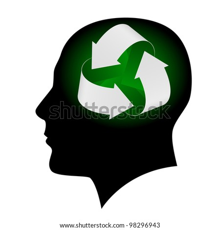 Raster version. Ecology symbol in human head. Illustration on white background  for design - stock photo