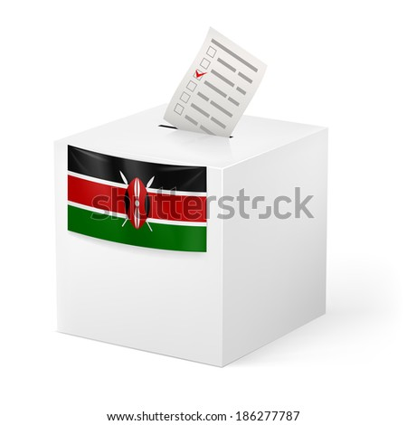 Raster version. Election in Kenya: ballot box with voting paper on white background - stock photo