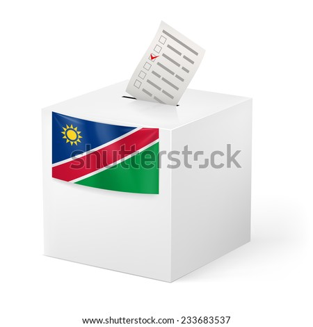 Raster version. Election in Namibia: ballot box with voting paper on white background  - stock photo