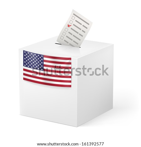 Raster version. Election in United States of America: ballot box with voicing paper isolated on white background. - stock photo