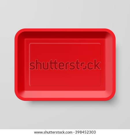 Raster version. Empty Red Plastic Food Container on Gray Background
