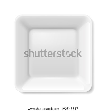 Raster version. Empty white flat plate on isolated on white background - stock photo