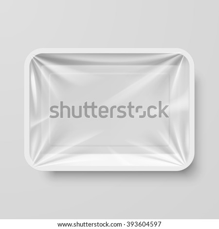 Raster version. Empty White Plastic Food Container on Gray
